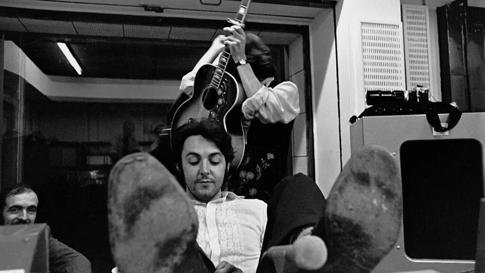 George Harrison and Paul McCartney at a White Album session, 1968.