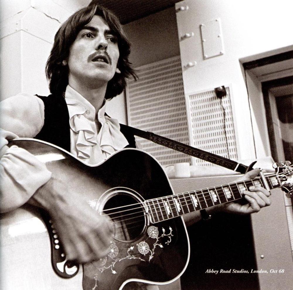 George Harrison recording the White Album, October 1968.