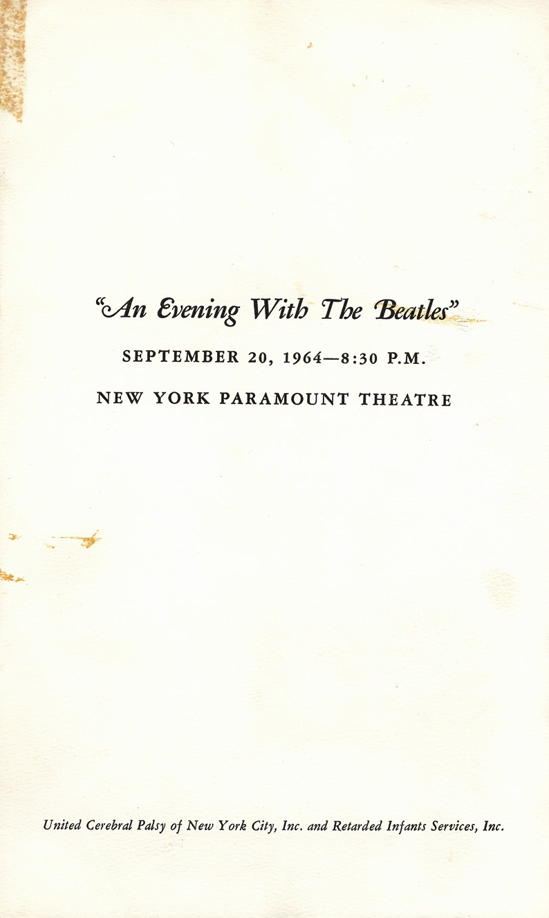 Program guide for the Beatles' appearance at the Paramount Theatre, New York City, September 20th 1964.