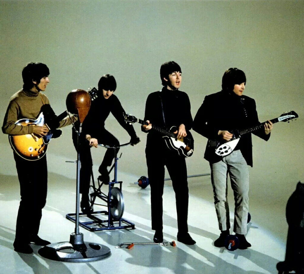 The Beatles recording a promo video for I Feel Fine, 1965.