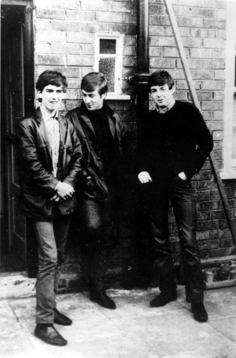 George Harrison, John Lennon and Paul McCartney in Liverpool, 1962.