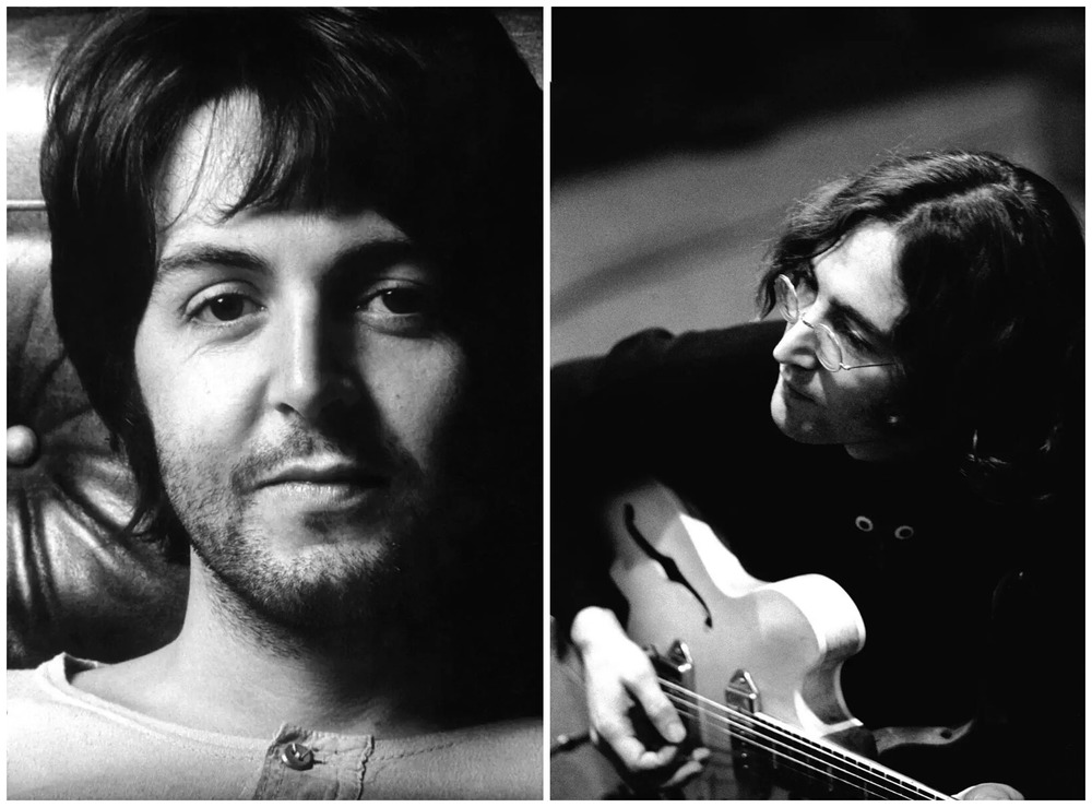 Paul McCartney and John Lennon working on the White Album, 1968.