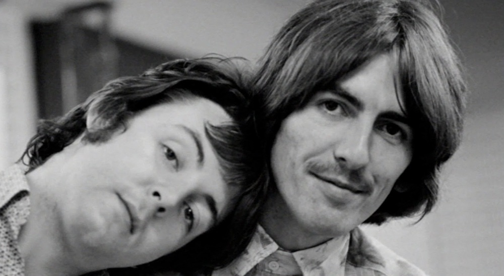 Paul McCartney and George Harrison during a White Album session, 1968.