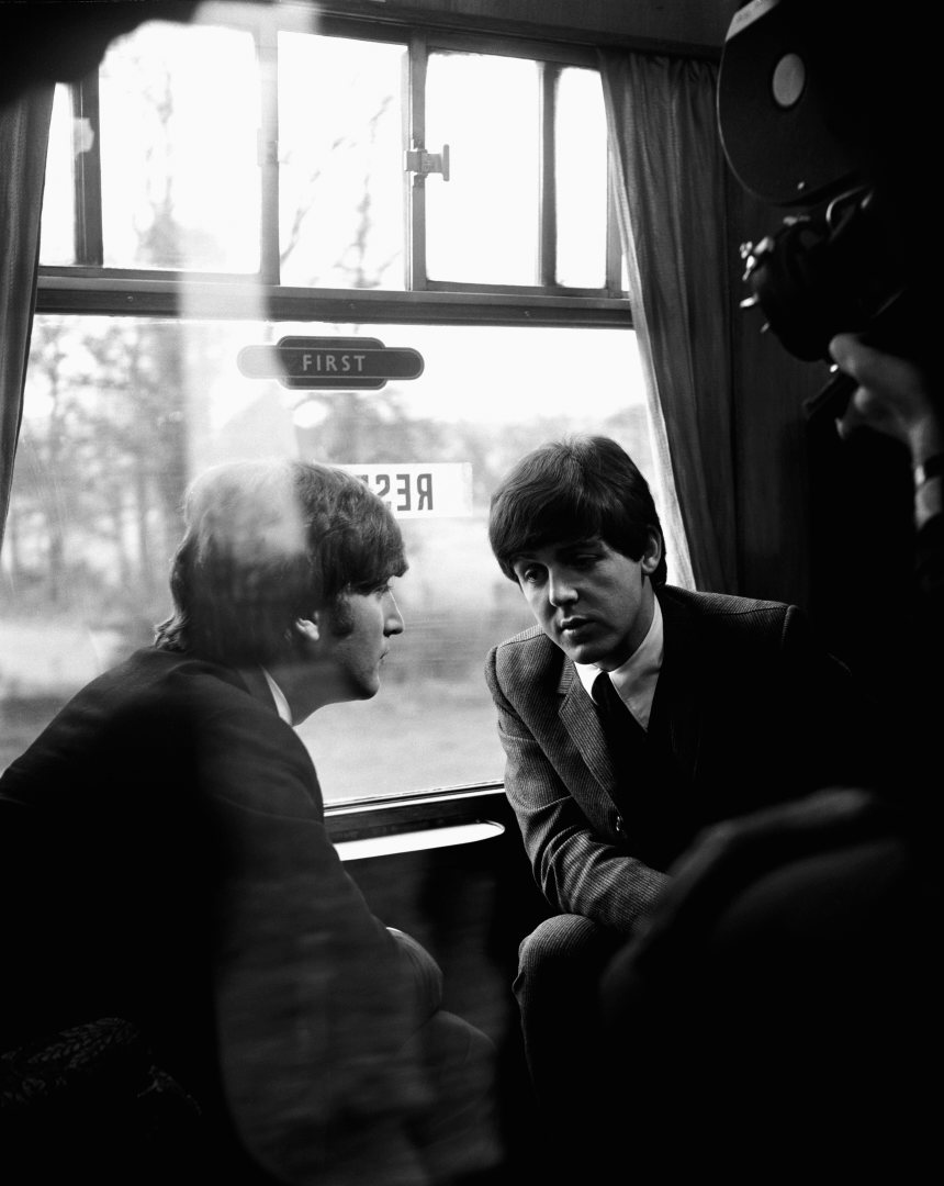 Paul McCartney and John Lennon on the set of A Hard Day's Night, 1964.