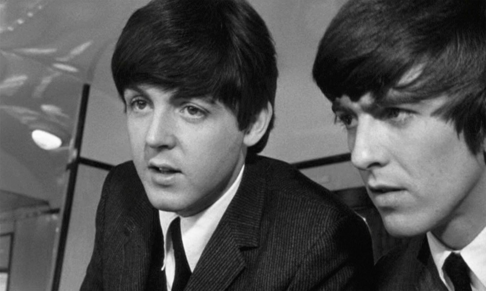 George Harrison and Paul McCartney filming A Hard Day's Night, 1964.