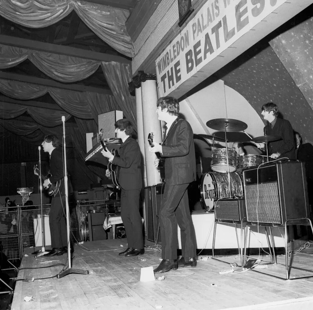 The Beatles performing at the Wimbledon Palais, December 14th 1963.