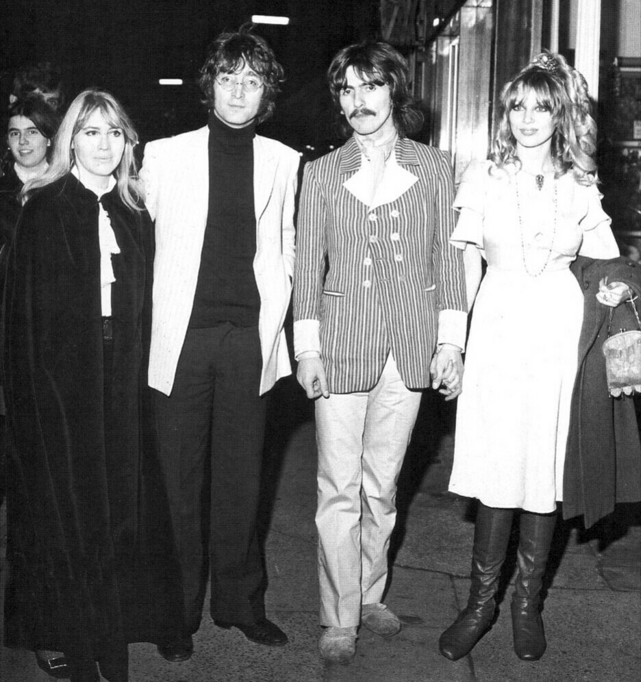 Cynthia and John Lennon with George Harrison and Pattie Boyd on a night out, circa 1968.