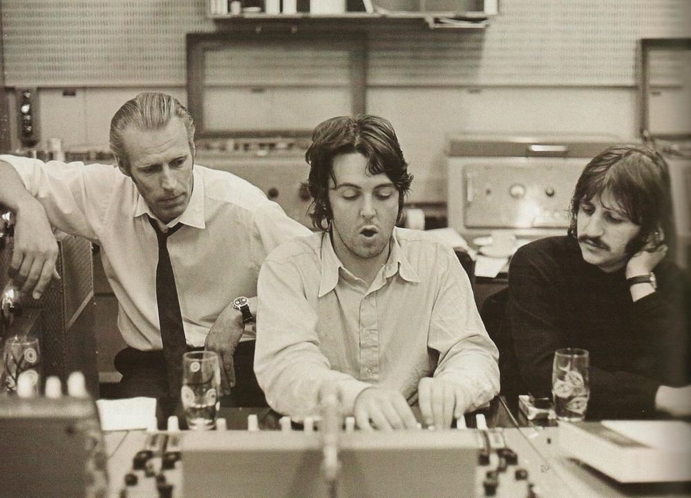 George Martin, Paul McCartney and Ringo Starr working on the White Album, 1968.