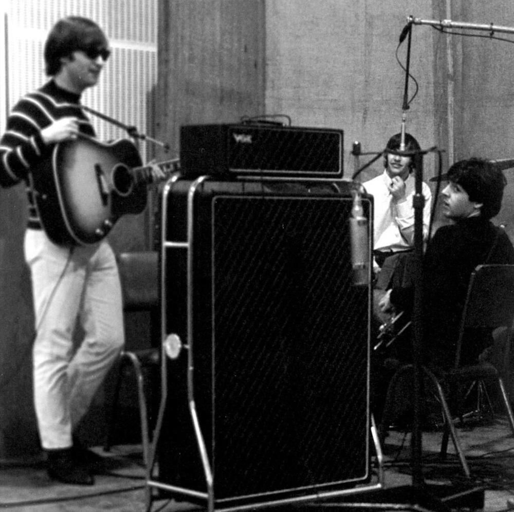 John Lennon, Paul McCartney and Ringo Starr recording Beatles for Sale, Autumn 1964.