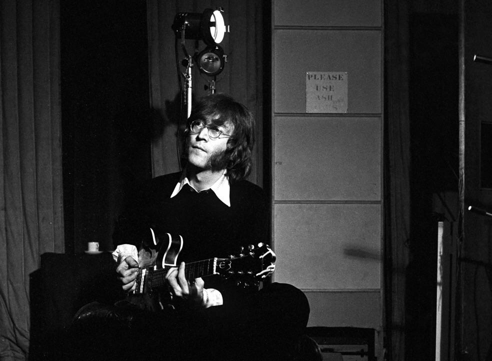 John Lennon recording guitar for Hey Bulldog, February 11th 1968.