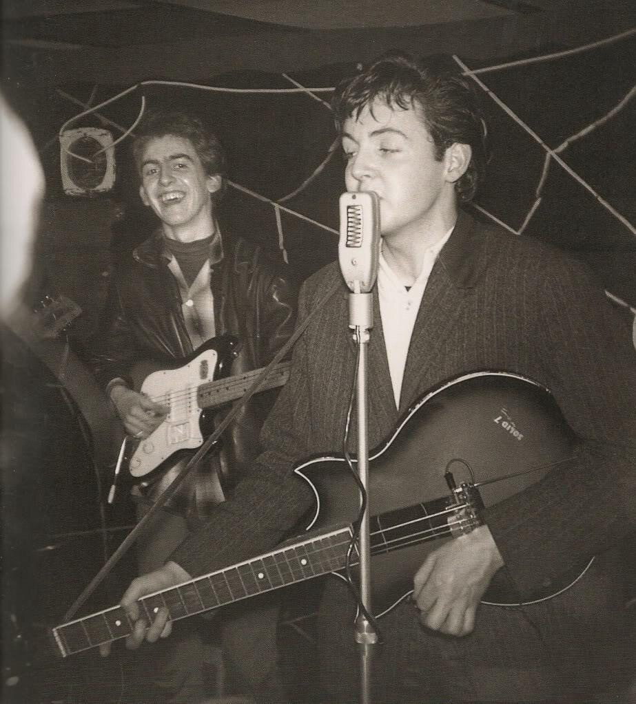 George Harrison and Paul McCartney at The Casbah in Liverpool, circa 1961.