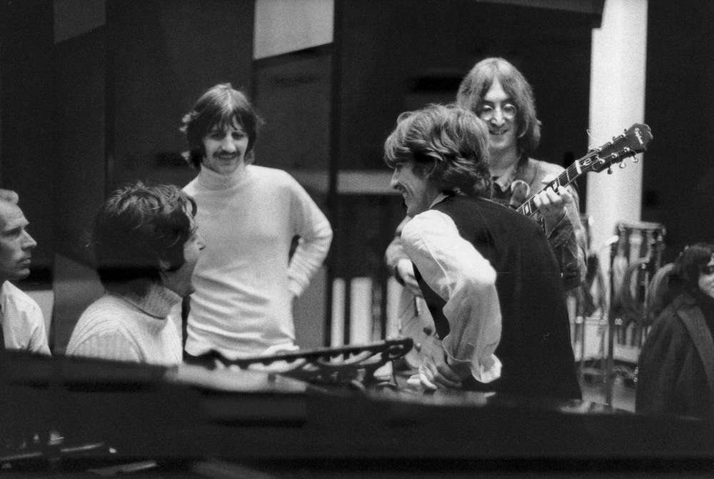 The Beatles working on Honey Pie for the White Album, at Trident Studios, October 1968.