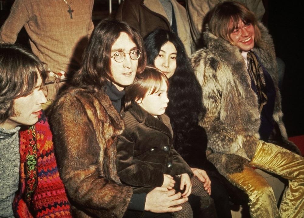 John Lennon, Yoko Ono and Julian Lennon with Eric Clapton and Brian Jones, 1968.