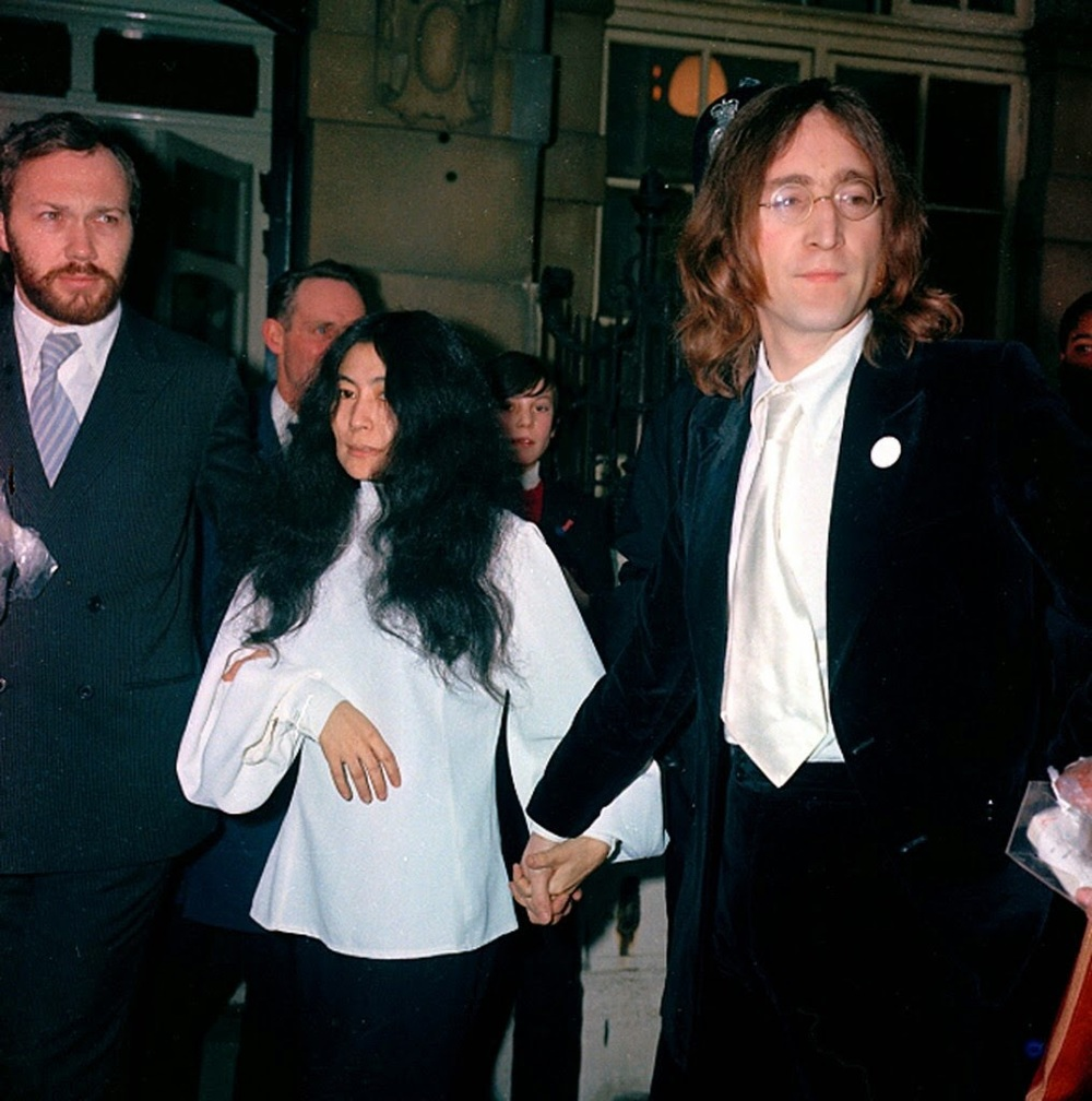 John Lennon and Yoko photographed in 1969 with Peter Brown.