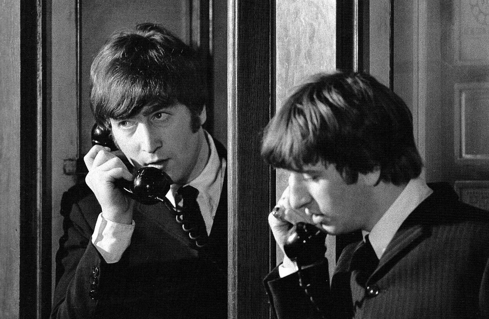 John Lennon and Ringo Starr filming A Hard Day's Night, 1964.