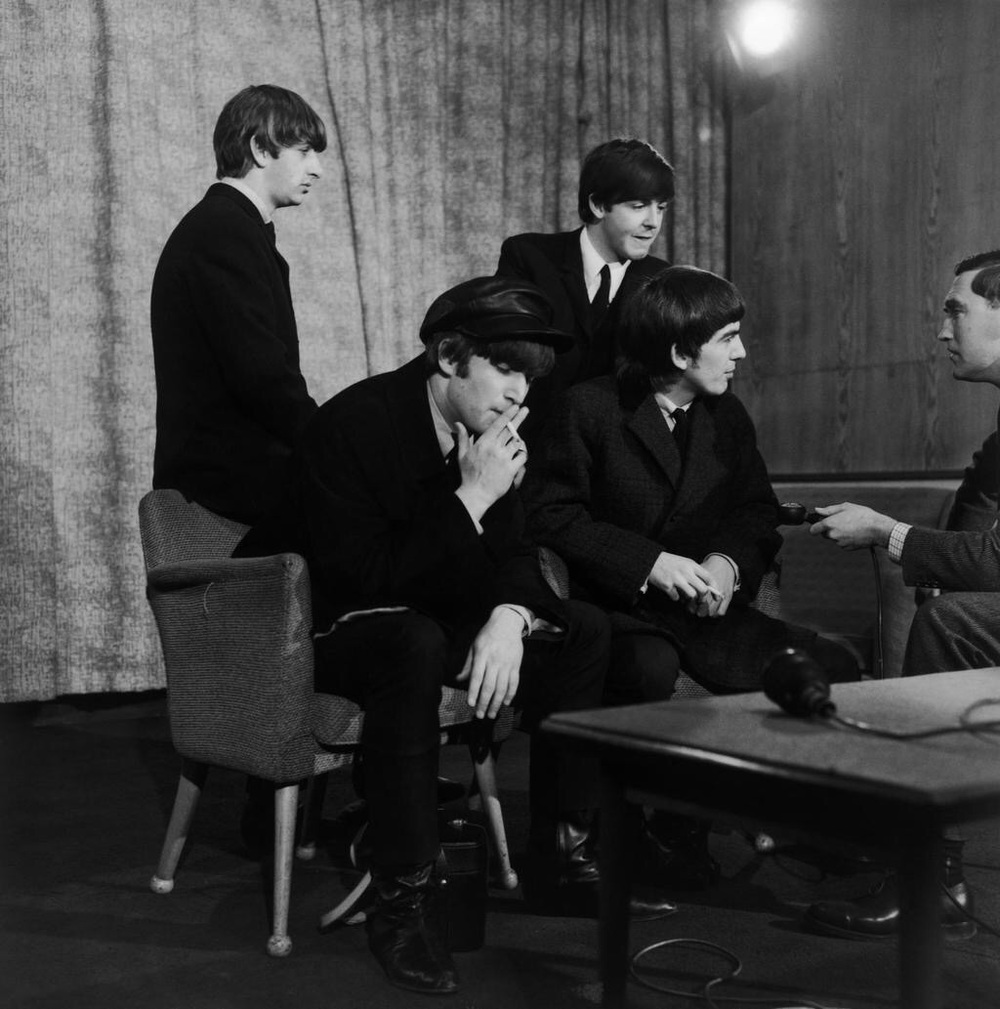 The Beatles at a US interview, 1964.