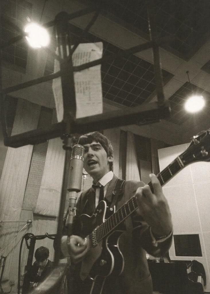 George Harrison at Abbey Road circa 1963.