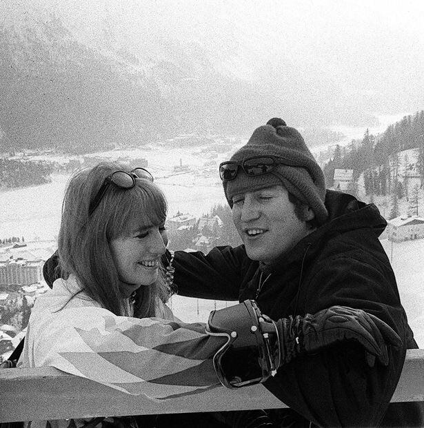 John and Cynthia Lennon skiing in 1965.