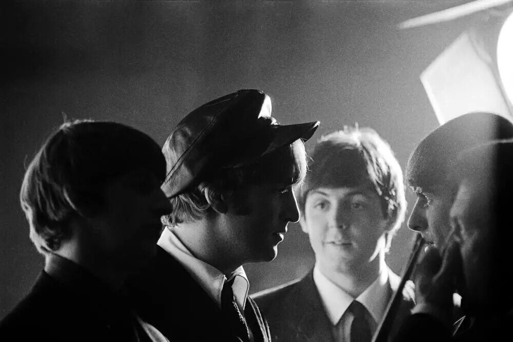 The Beatles on the set of A Hard Day's Night, 1964.