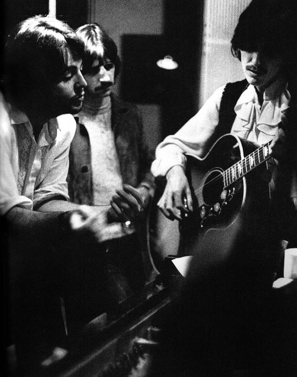 Paul McCartney, Ringo Starr and George Harrison working on the White Album, 1968.