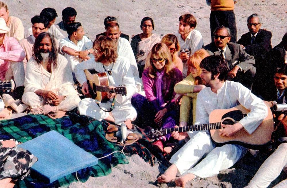 The Beatles with Maharishi Mahesh Yogi in India, 1968.