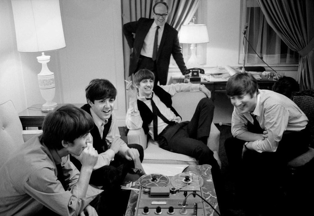 The Beatles in a New York hotel, 1964