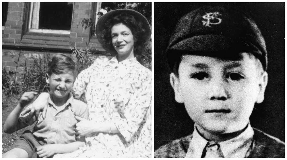 Left: John Lennon with mother Julia. Right: A young John Lennon.
