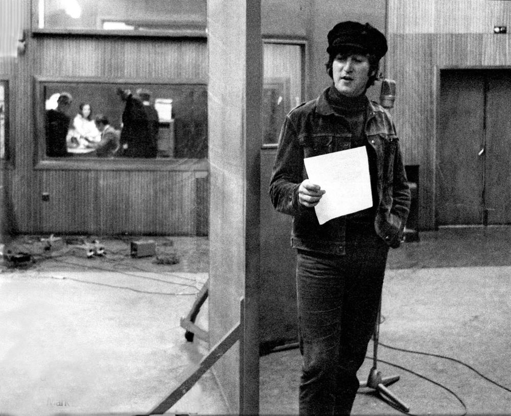 John Lennon recording vocals, 1965.