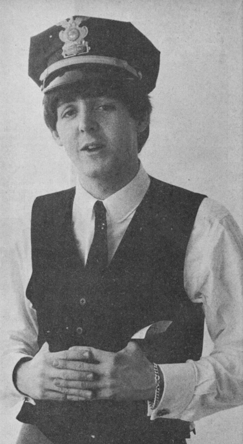 Paul McCartney dressed as a policeman, circa 1964.