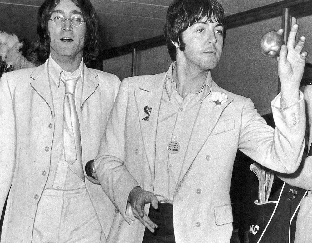 John Lennon and Paul McCartney promoting Apple Corps, 1968.