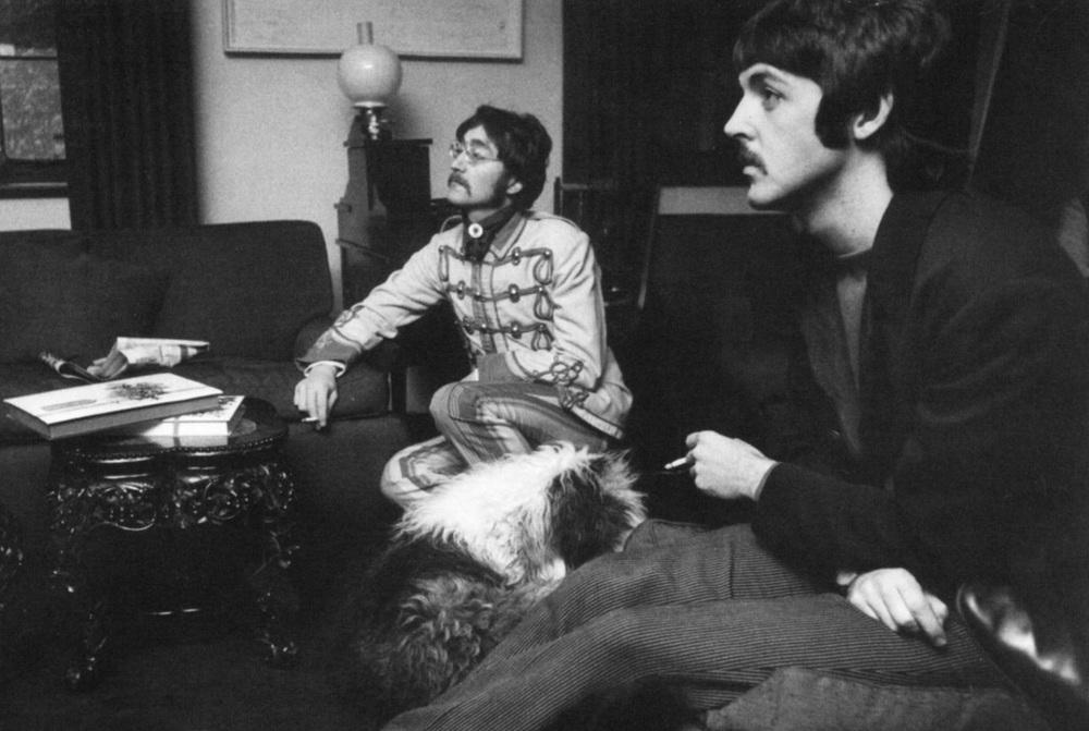 John Lennon and Paul McCartney with Paul's sheepdog Martha, 1967.