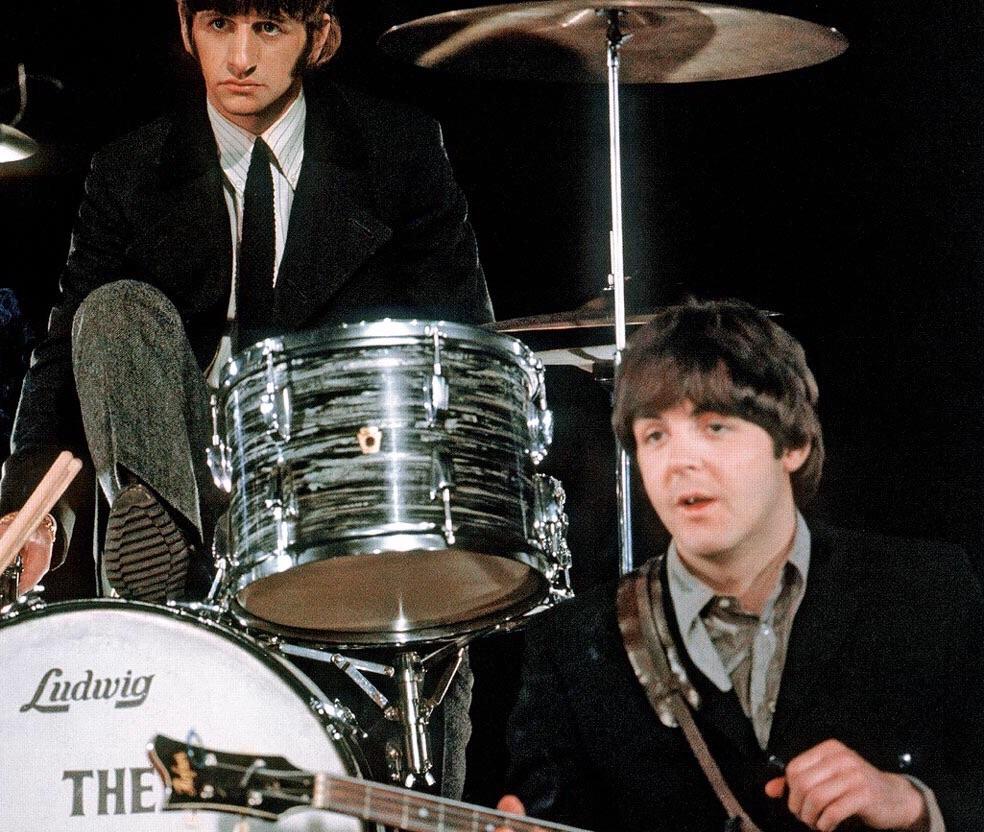 Ringo Starr and Paul McCartney, 1966.