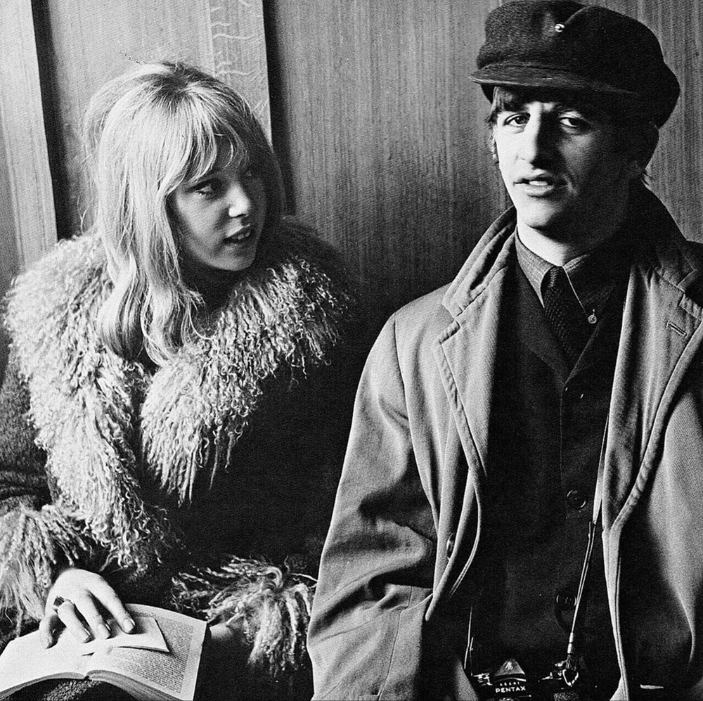 Pattie Boyd and Ringo Starr on the set of A Hard Day's Night, 1964.