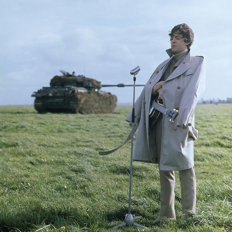 Paul McCartney filming Help! on the Salisbury Plain, 1965.