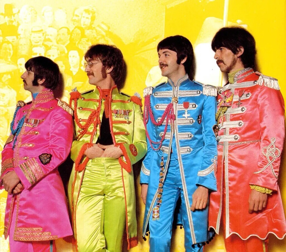 The Beatles at a Sgt. Pepper photo shoot, 1967.