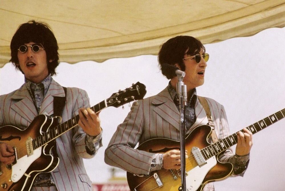 George Harrison and John Lennon playing Crosley Field, Cincinnati, August 21st 1966.