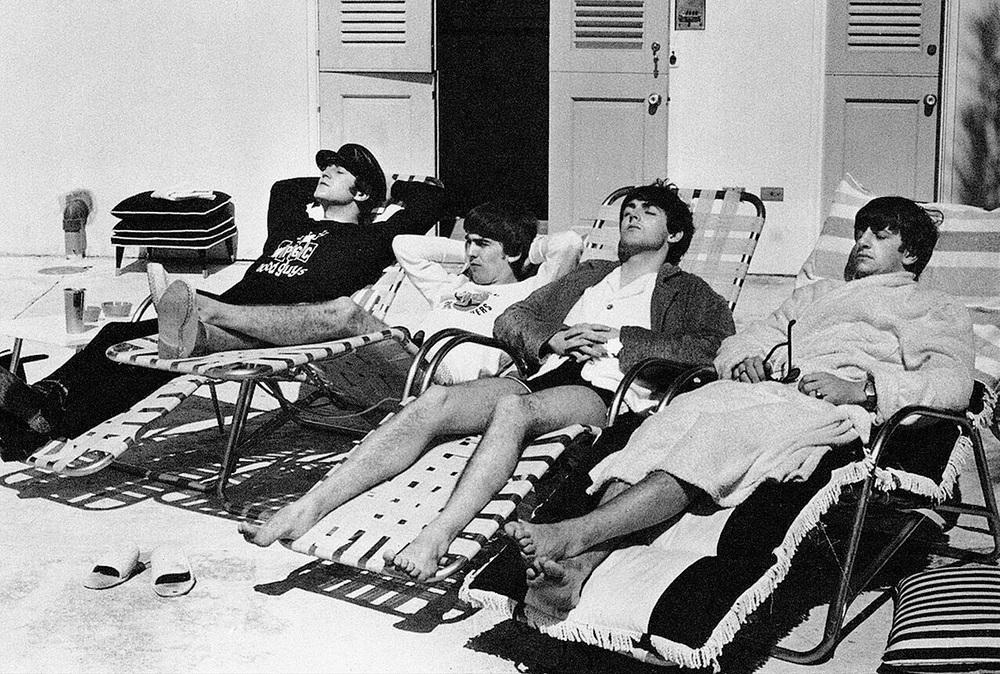 The Beatles sunbathing in Miami, 1964.