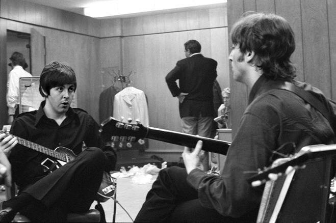 John Lennon and Paul McCartney backstage on their 1966 US tour.