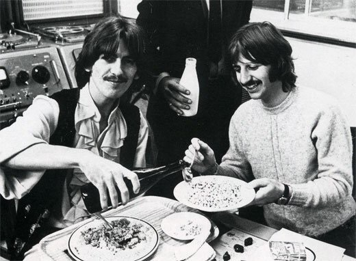 George Harrison and Ringo Starr at a White Album session, 1968.