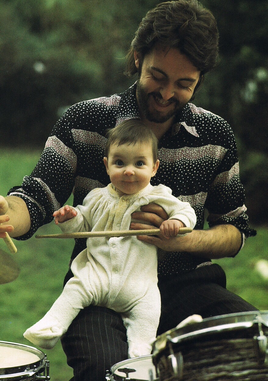 Paul McCartney with daughter Mary, 1969.