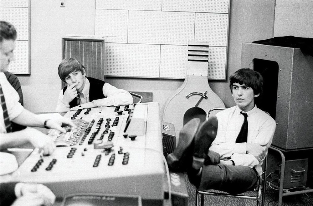 Ringo Starr and George Harrison in an Abbey Road control room, 1964.