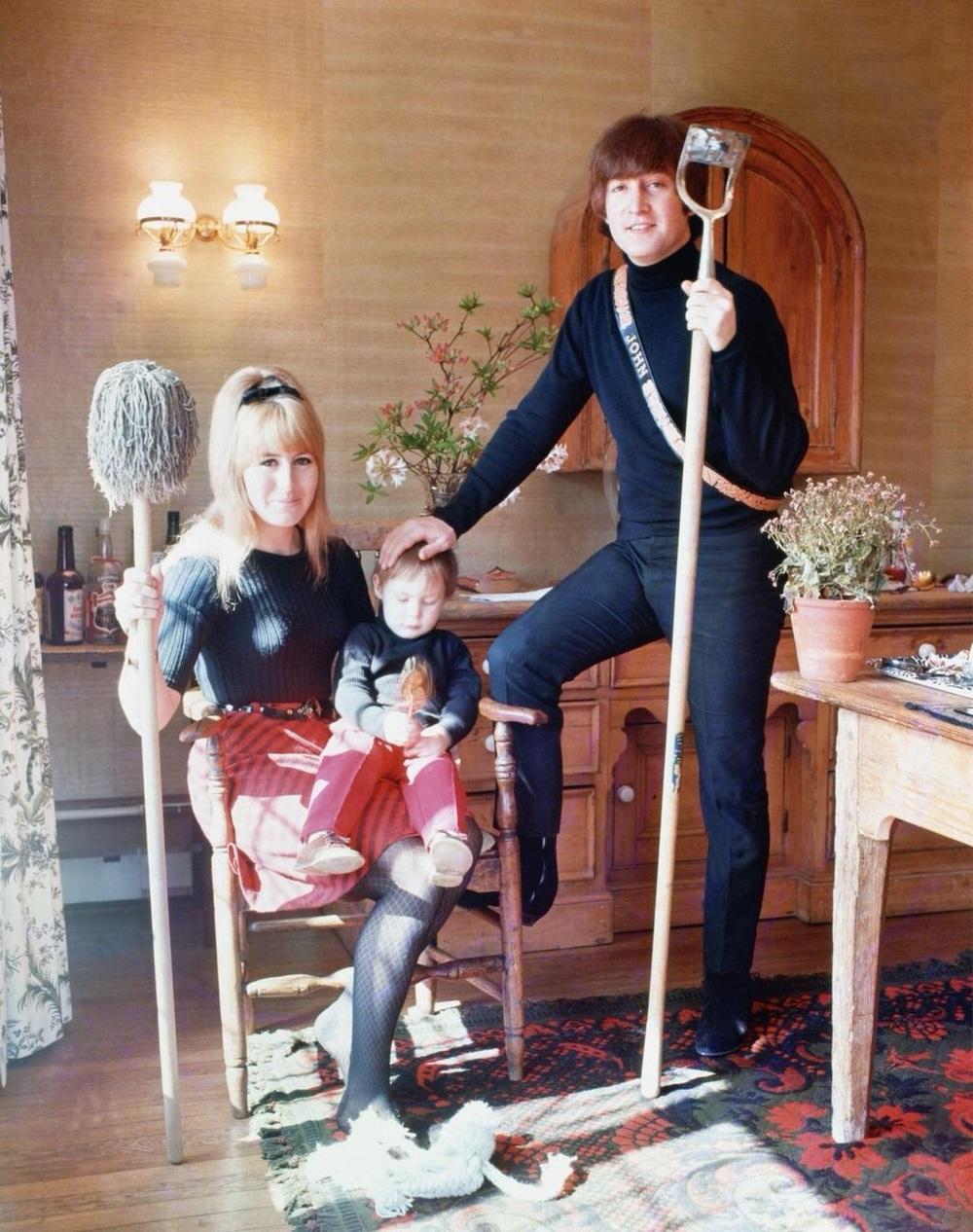 John, Cynthia and Julian Lennon at their home in Weybridge, 1965.