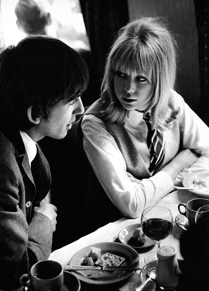 George Harrison and Pattie Boyd on the set of A Hard Day's Night, 1964.