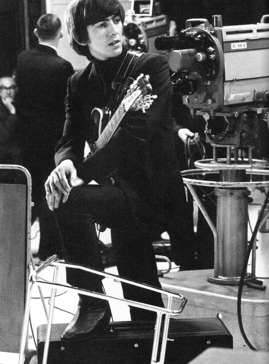 George Harrison on the set of A Hard Day's Night, 1964.