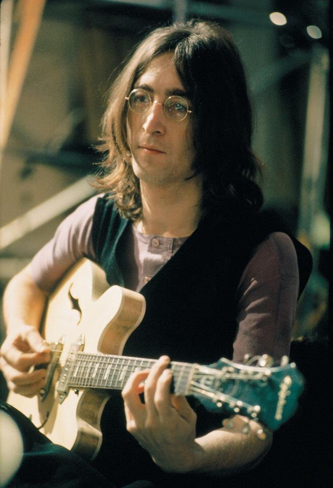 John Lennon at a Let It Be session, 1969.