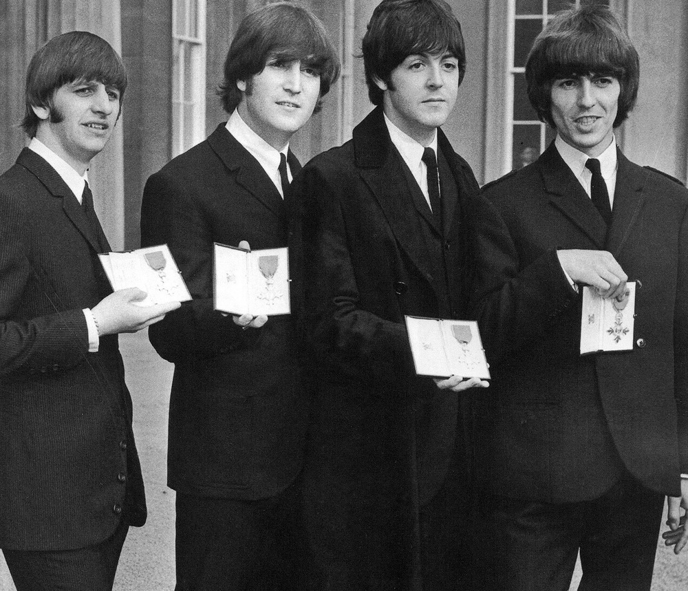 The Beatles with their MBEs, October 26th 1965.