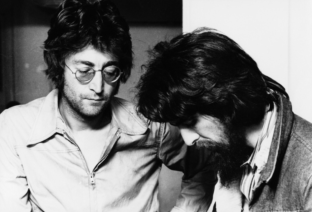 John Lennon and George Harrison recording Imagine, 1971.
