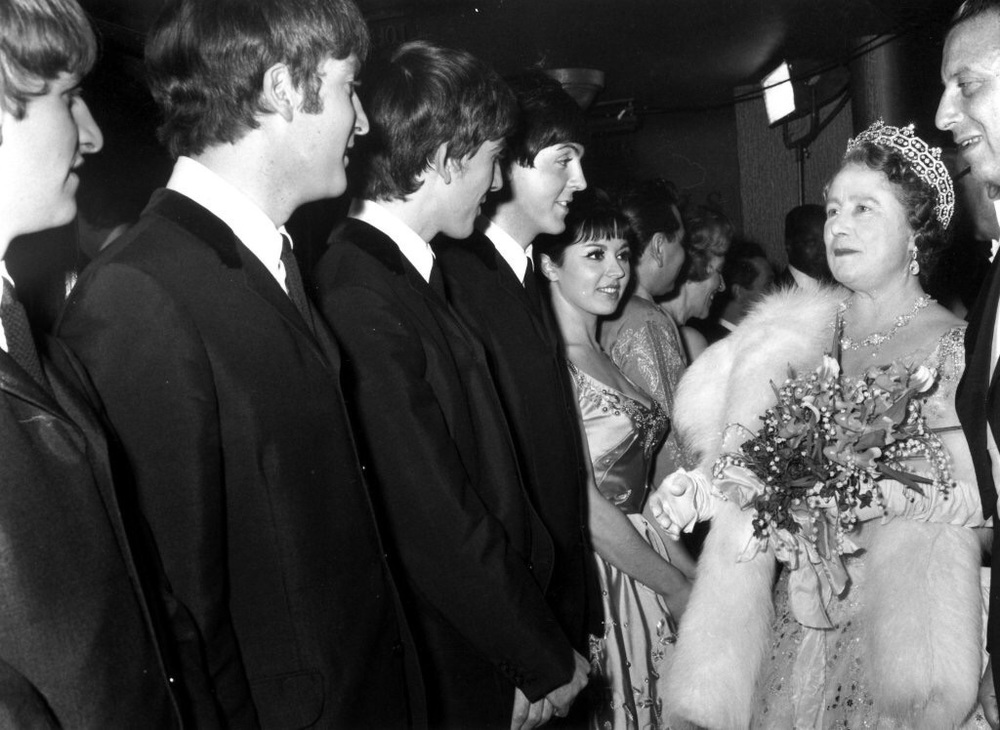 The Beatles meeting the Queen Mother, 1963.