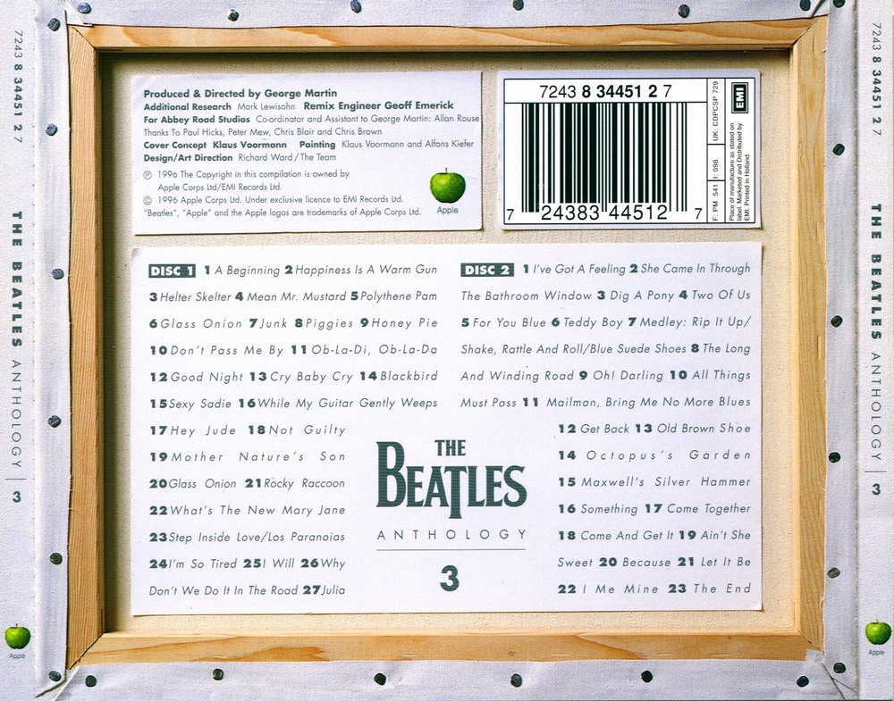 The Beatles' Anthology 3 back cover, 1996.