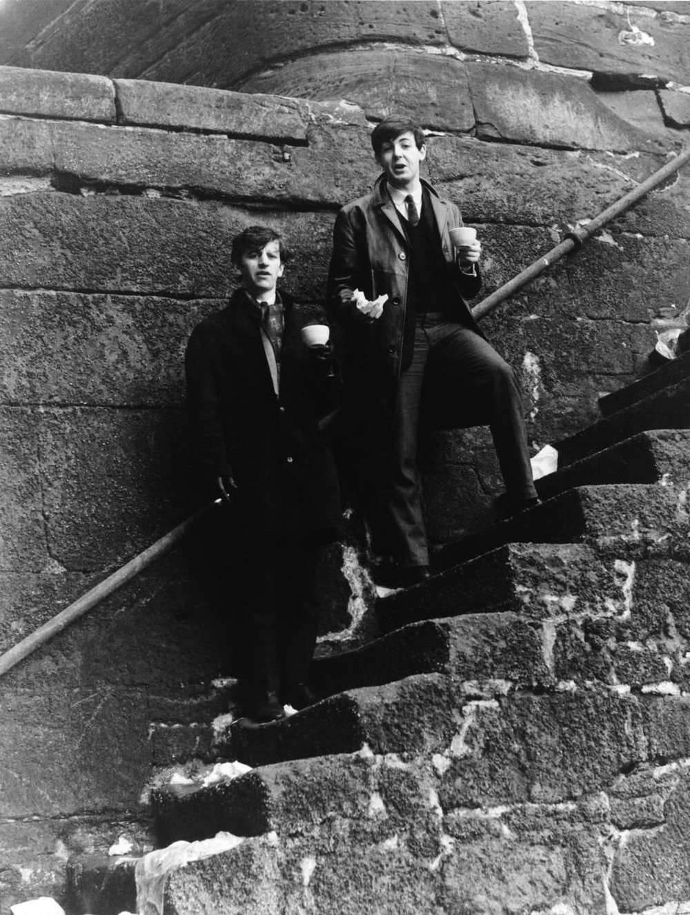 Paul McCartney and Ringo Starr at Pier Head, Liverpool, 1963.